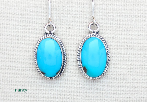 Image 0 of Sleeping Beauty Turquoise & Sterling Silver Earrings Navajo Jewelry - 4775sn