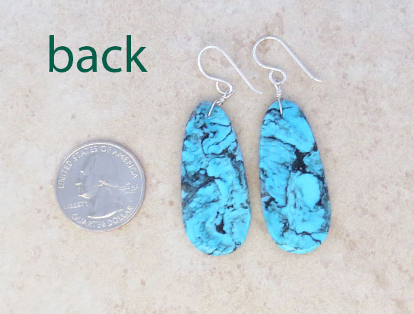 Image 2 of         Native American Jewelry Turquoise Slab Earrings - 4950pl