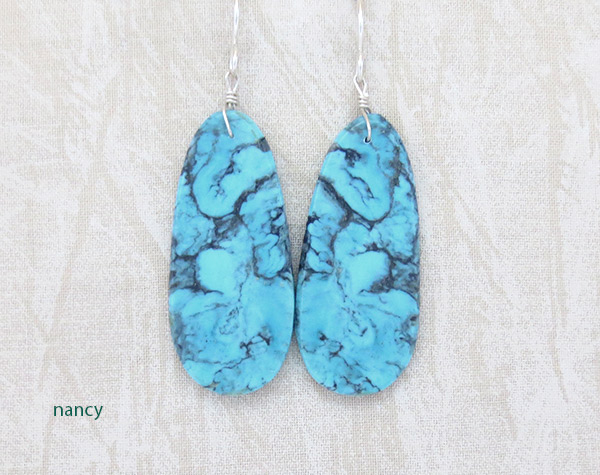 Image 0 of  Native American Jewelry Turquoise Slab Earrings - 4950pl