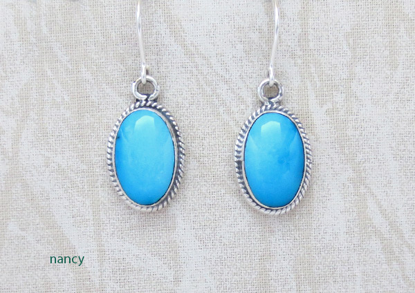 Sleeping Beauty Turquoise & Sterling Silver Earrings Navajo Jewelry - 4963sn