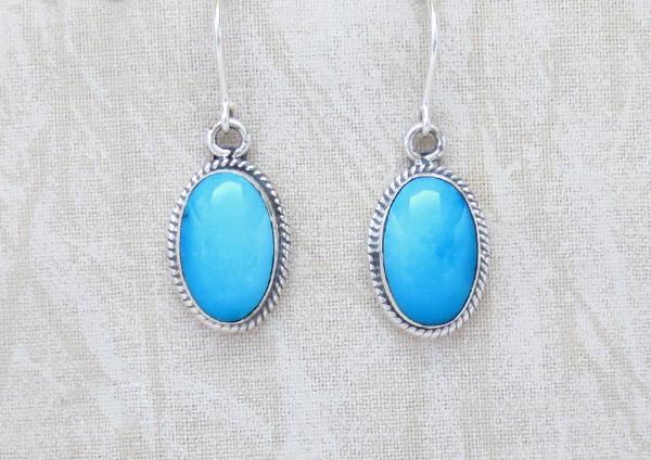 Sleeping Beauty Turquoise & Sterling Silver Earrings Navajo Jewelry - 4963sn