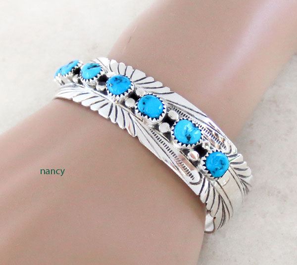Image 0 of    Turquoise & Sterling Silver Bracelet Native American Jewelry - 4780sn