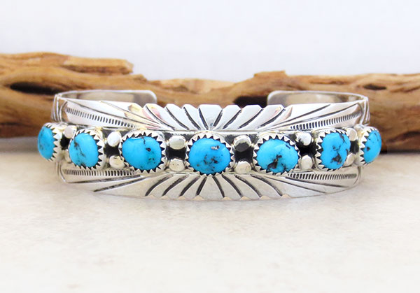 Image 1 of    Turquoise & Sterling Silver Bracelet Native American Jewelry - 4780sn