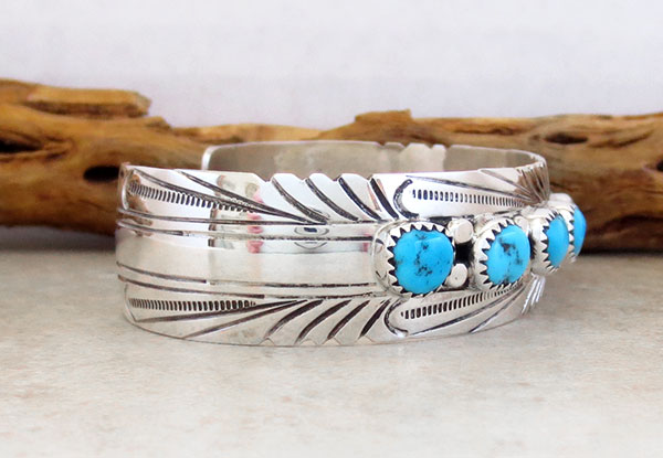 Image 2 of    Turquoise & Sterling Silver Bracelet Native American Jewelry - 4780sn