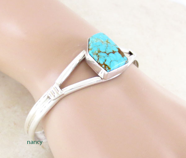 Image 0 of     Turquoise & Sterling Silver Bracelet Native American Jewelry - 4970sn