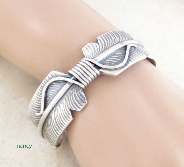 Sterling Silver Feather Bracelet Native American Jewelry - 5057sn