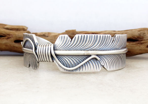 Image 1 of Sterling Silver Feather Bracelet Native American Jewelry - 5057sn