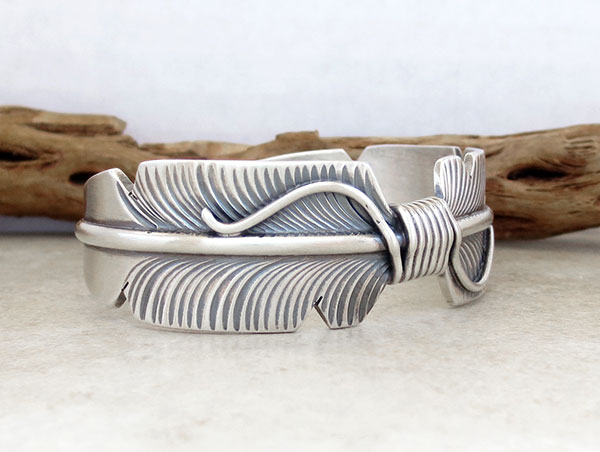 Image 2 of Sterling Silver Feather Bracelet Native American Jewelry - 5057sn