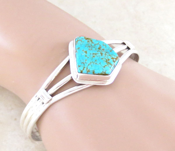 Image 1 of Native American Jewelry Turquoise & Sterling Silver Bracelet - 5054sn