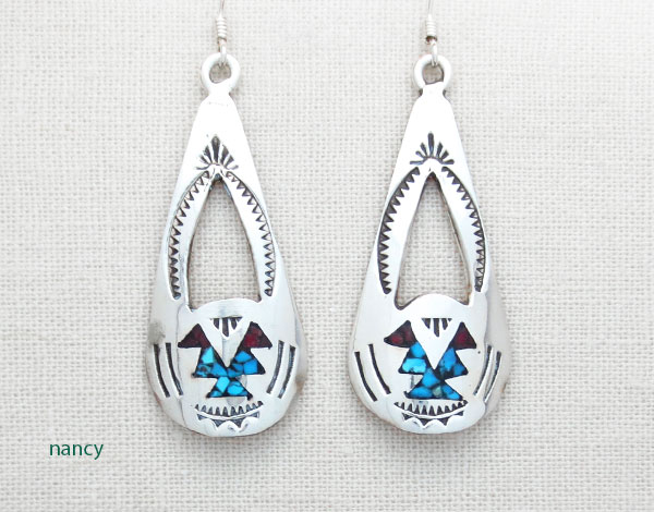 Turquoise Coral Chip Inlay & Sterling Silver Earrings Navajo - 4393sn