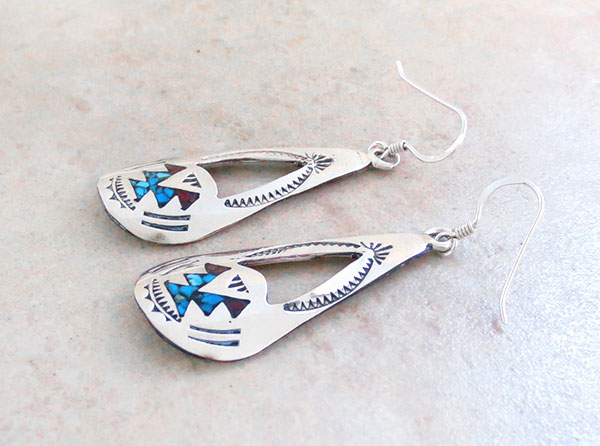 Image 1 of     Turquoise Coral Chip Inlay & Sterling Silver Earrings Navajo - 4393sn