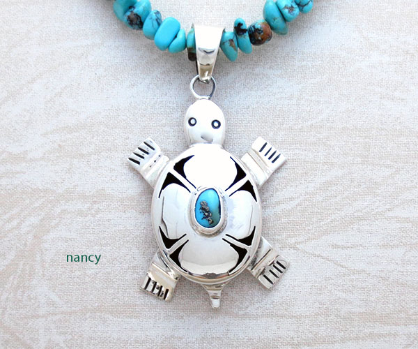 Image 0 of     Turquoise & Sterling Silver Turtle Pendant Native American Jewelry - 5346br