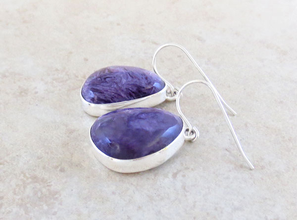 Image 1 of Charoite & Sterling Silver Earrings Native American Jewelry - 5358sn