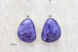 Charoite & Sterling Silver Earrings Native American Jewelry - 5358sn