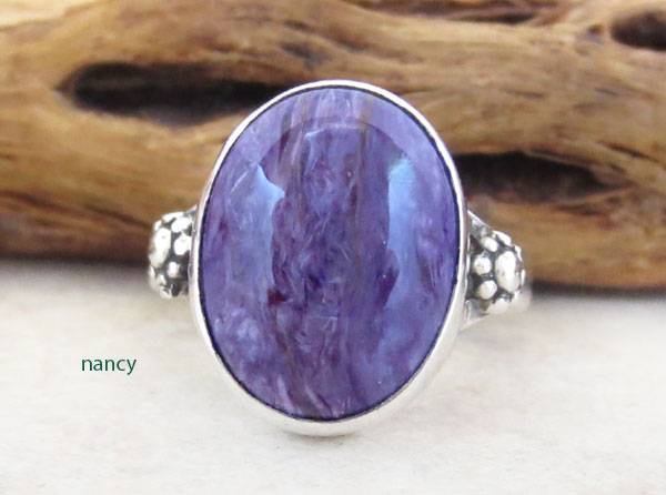 Charoite & Sterling Silver Ring Sz 6.75 Native American Jewelry - 4971sn