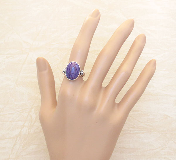 Image 1 of     Charoite & Sterling Silver Ring Sz 6.75 Native American Jewelry - 4971sn