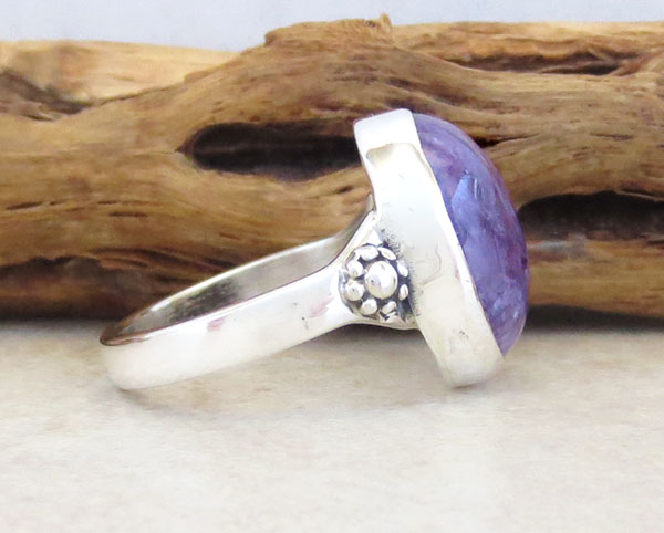 Image 2 of     Charoite & Sterling Silver Ring Sz 6.75 Native American Jewelry - 4971sn
