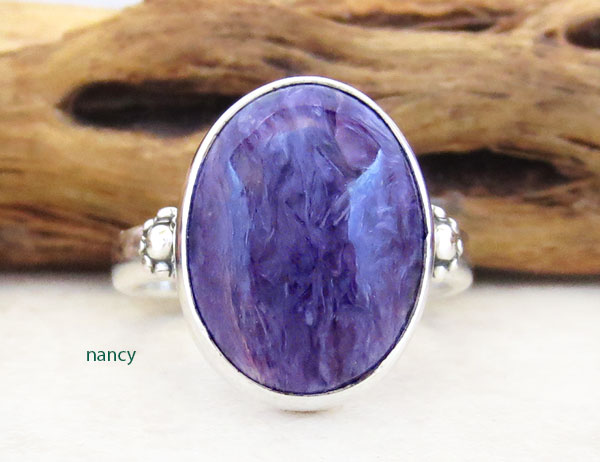 Image 0 of     Charoite & Sterling Silver Ring Sz 8 Native American Jewelry - 5357sn