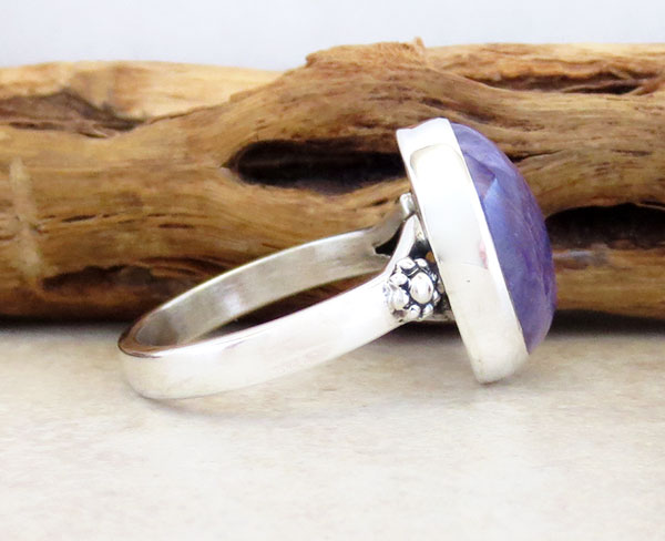 Image 2 of     Charoite & Sterling Silver Ring Sz 8 Native American Jewelry - 5357sn
