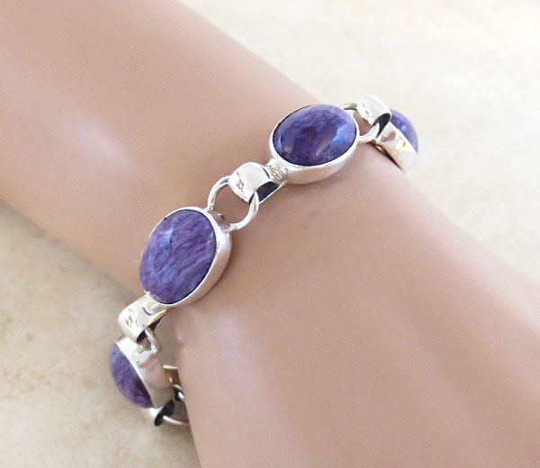 Image 0 of Charoite & Sterling Silver Link Bracelet Native American Jewelry - 4972sn