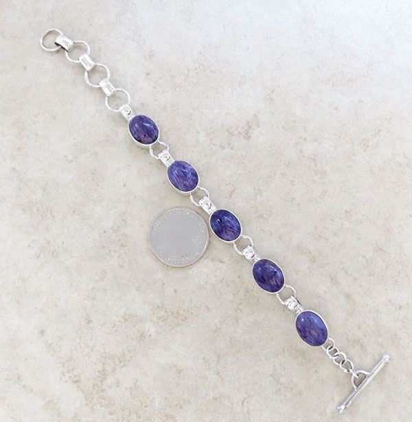 Image 1 of Charoite & Sterling Silver Link Bracelet Native American Jewelry - 4972sn