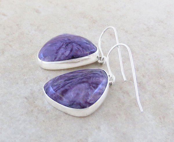 Image 1 of           Charoite & Sterling Silver Earrings Native American Jewelry - 5062sn