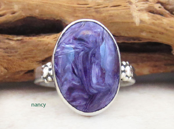 Charoite & Sterling Silver Ring Sz 7.5 Native American Jewelry - 3870sn