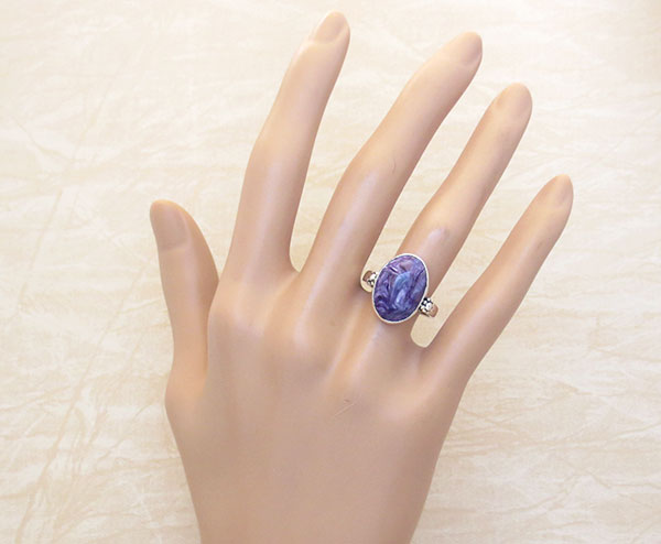 Image 1 of      Charoite & Sterling Silver Ring Sz 7.5 Native American Jewelry - 3870sn