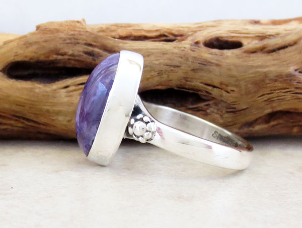 Image 2 of      Charoite & Sterling Silver Ring Sz 7.5 Native American Jewelry - 3870sn