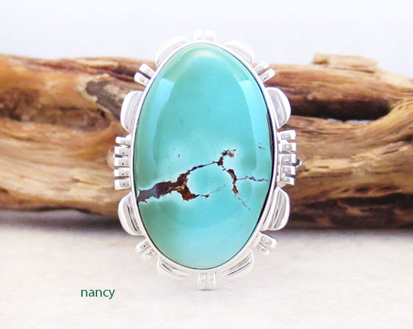 Native American Jewelry Turquoise & Sterling Silver Ring Sz 9 - 5347at