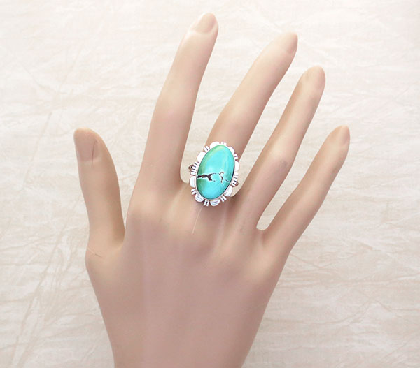 Image 1 of    Native American Jewelry Turquoise & Sterling Silver Ring Sz 9 - 5347at