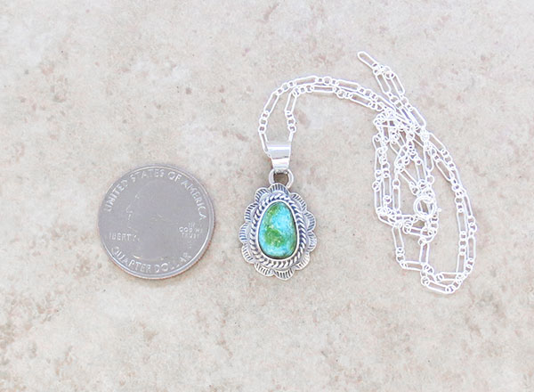 Image 1 of Turquoise & Sterling Silver Pendant Native American Jewelry - 4965sn