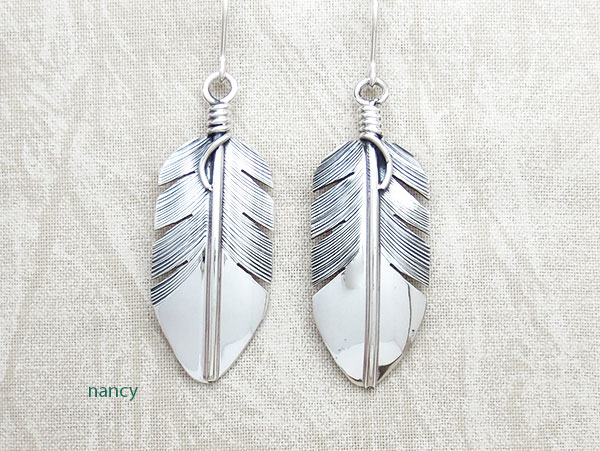 Classic Sterling Silver Feather Earrings Lena Platero Navajo -5359sn