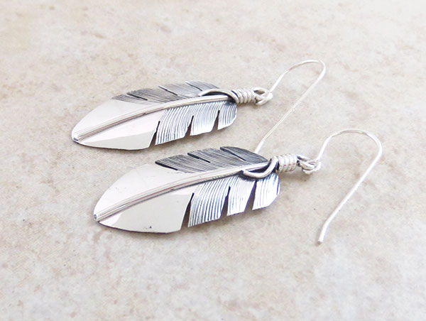 Image 1 of    Classic Sterling Silver Feather Earrings Lena Platero Navajo -5359sn