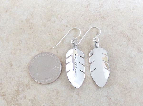 Image 2 of    Classic Sterling Silver Feather Earrings Lena Platero Navajo -5359sn