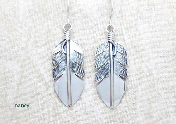 Image 0 of    Classic Sterling Silver Feather Earrings Lena Platero Navajo -5359sn
