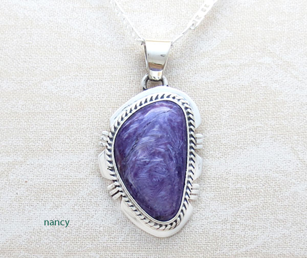 Charoite & Sterling Silver Pendant W/Chain Native American Jewelry - 2885sn