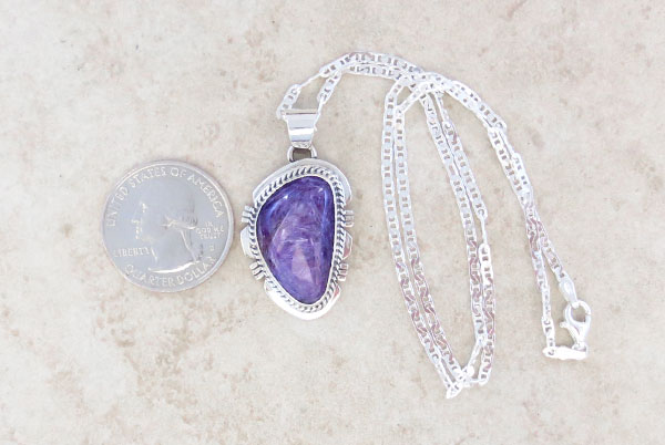 Image 1 of Charoite & Sterling Silver Pendant W/Chain Native American Jewelry - 2885sn