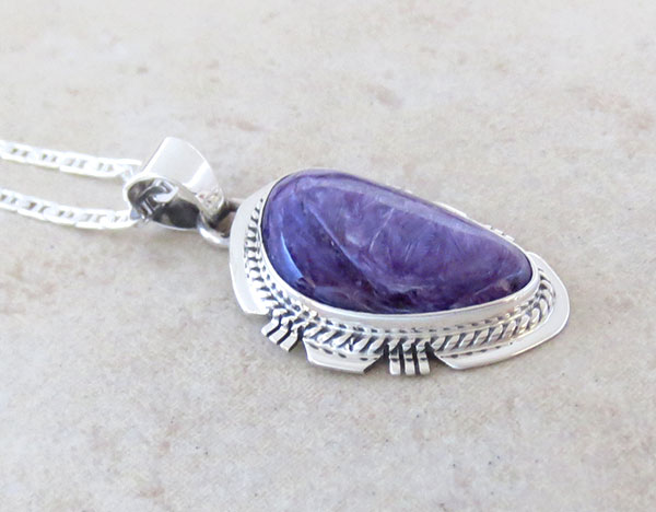 Image 2 of Charoite & Sterling Silver Pendant W/Chain Native American Jewelry - 2885sn