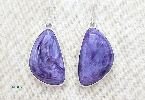 Charoite & Sterling Silver Earrings Native American Jewelry - 2884sn
