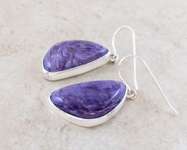 Image 1 of   Charoite & Sterling Silver Earrings Native American Jewelry - 2884sn