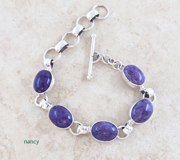 Image 0 of Charoite & Sterling Silver Link Bracelet Native American Jewelry - 2891sn