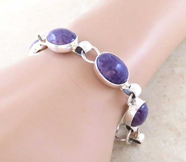 Image 1 of Charoite & Sterling Silver Link Bracelet Native American Jewelry - 2891sn