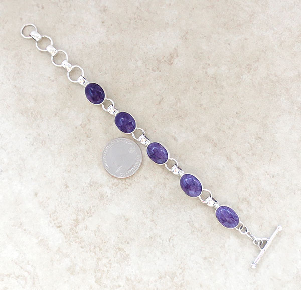 Image 2 of Charoite & Sterling Silver Link Bracelet Native American Jewelry - 2891sn