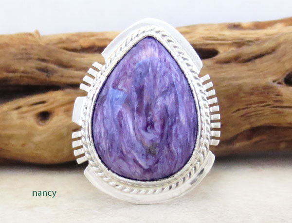 Charoite & Sterling Silver Ring Sz 6 Native American Jewelry - 2895sn