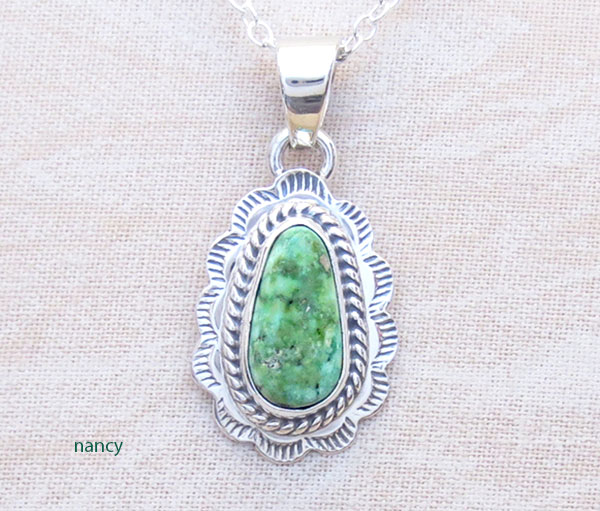 Green Turquoise & Sterling Silver Pendant Native American Jewelry- 2894sn