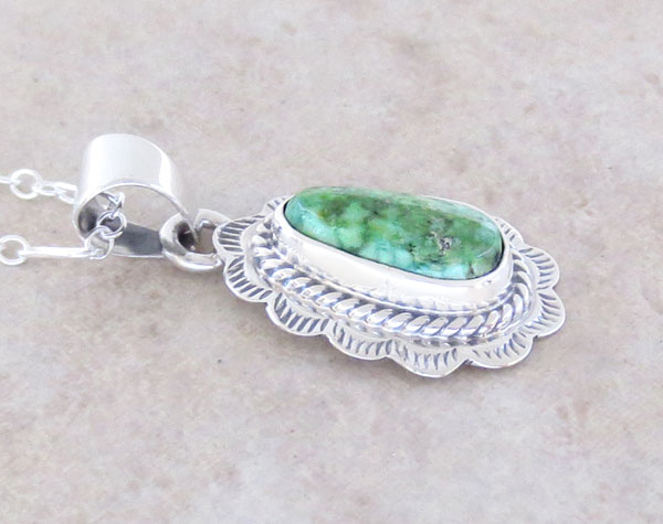 Image 2 of Green Turquoise & Sterling Silver Pendant Native American Jewelry- 2894sn