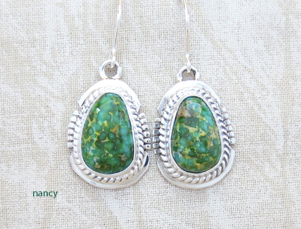 Green Turquoise & Sterling Silver Earrings Native American Jewelry - 2892sn