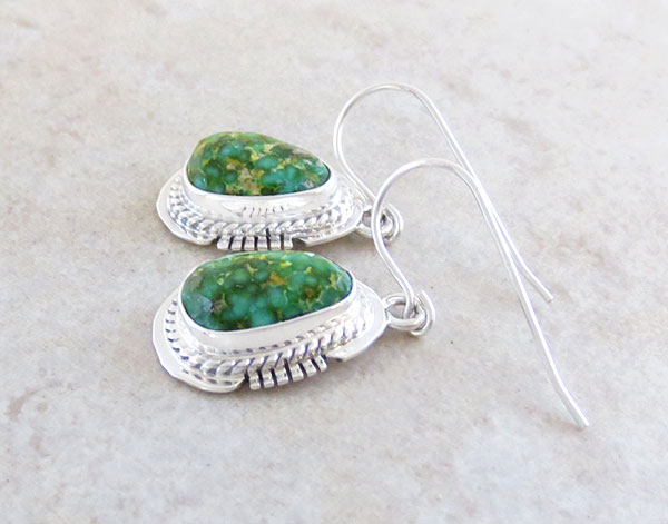 Image 1 of Green Turquoise & Sterling Silver Earrings Native American Jewelry - 2892sn