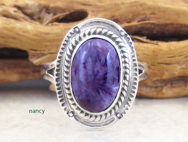 Image 0 of Charoite & Sterling Silver Ring Sz 6 Native American Jewelry - 2893sn